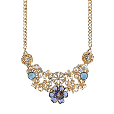Blue With Clear Crystal And Costume Pearl Flower Bib Necklace 16 - 19 Inch Adjustable