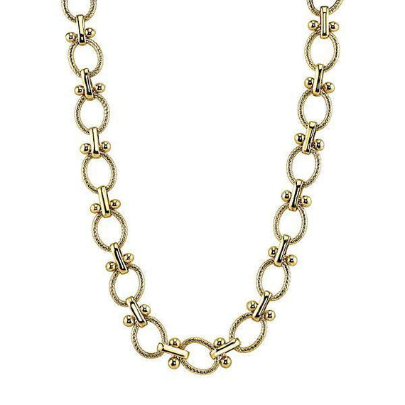 Fashion Jewelry - Gold-Tone Textured Oval Link Necklace