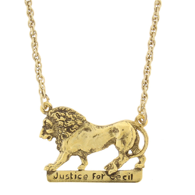 Justice For Cecil The Lion Necklace 16   19 Inch Adjustable Gold