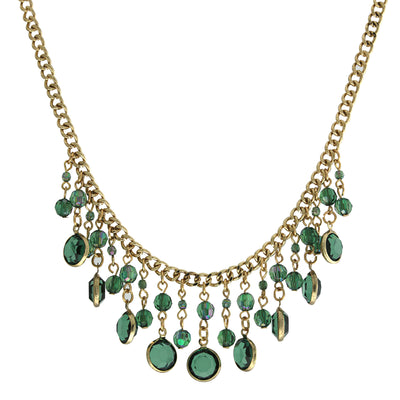 Gold-Tone Emerald Green AB Drop Bib Necklace 16 In Adj
