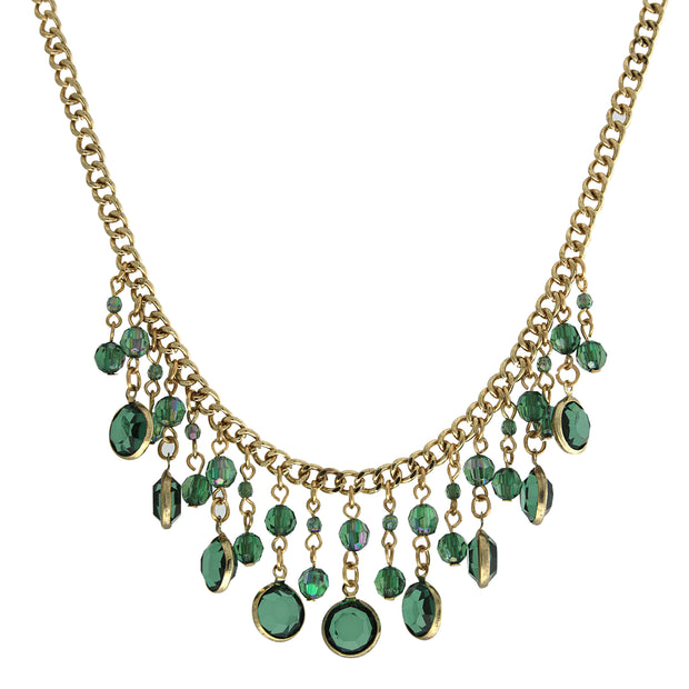 Gold-Tone Emerald Green Ab Drop Bib Necklace 16 - 19 Inch Adjustable