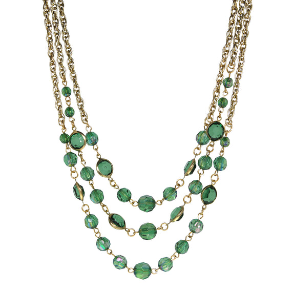 Gold-Tone Emerald Green AB 3-Strand Necklace 16 In Adj
