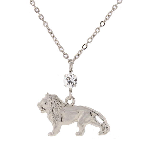 Silver-Tone with Crystal Cecil the Lion Necklace 16 Adj.