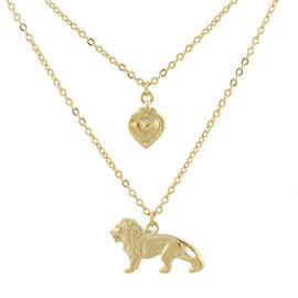 Fashion Jewelry - 14K Gold-Dipped Cecil the Lion Layered Necklace