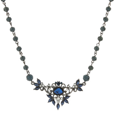 Black-Tone Mixed Blue Bib Necklace 16 In Adj