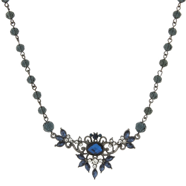 Black Tone Mixed Blue Bib Necklace 16   19 Inch Adjustable