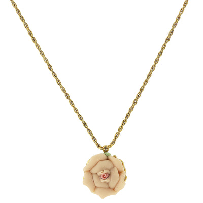 "Gold Tone Porcelain Pendant Necklace 16"" Adj"