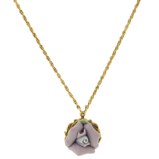 "Gold Tone Porcelain Pendant Necklace 16"" Adj Purple"