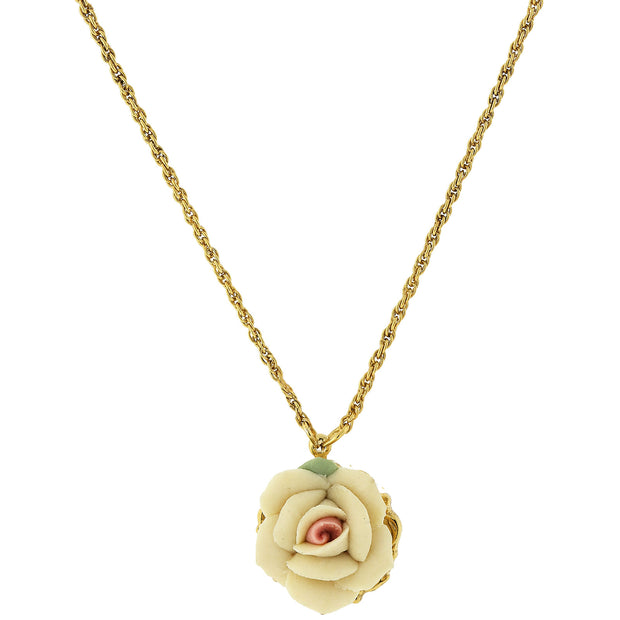"Gold Tone Porcelain Pendant Necklace 16"" Adj White"