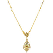 14K Gold Dipped Porcelain Rose With Crystal Accent Necklace 17 In