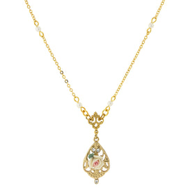 14K Gold Dipped Porcelain Rose with Crystal Accent Necklace 17""