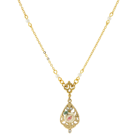 Fashion Jewelry - 14K Gold-Dipped Ivory Color Porcelain Rose with Crystal Accent Necklace