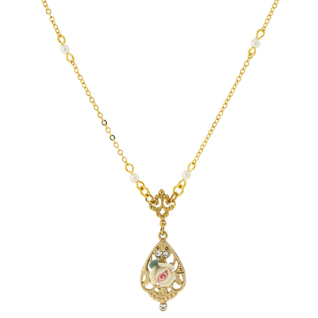 "14K Gold Dipped Porcelain Rose With Crystal Accent Necklace 17"" Ivory"