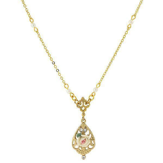 14K Gold-Dipped Ivory Color Porcelain Rose with Crystal Accent Necklace 17