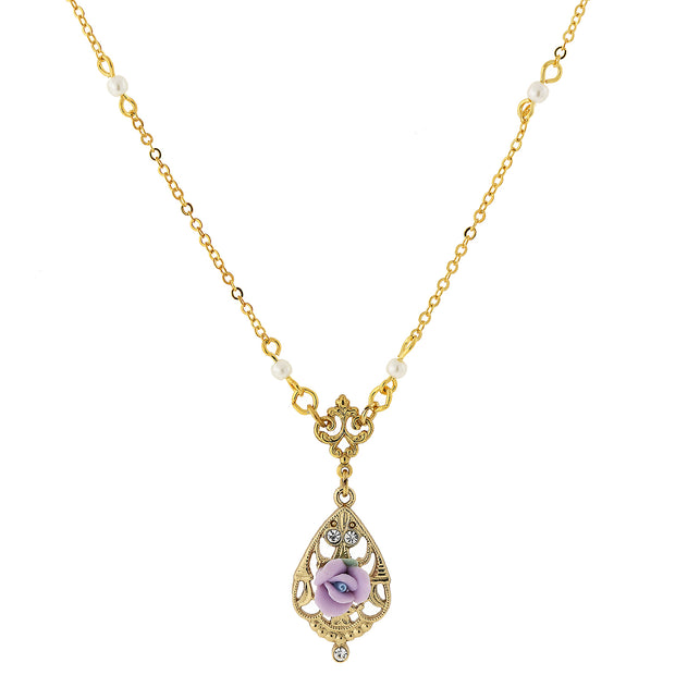 "14K Gold Dipped Porcelain Rose With Crystal Accent Necklace 17"" Light Purple"