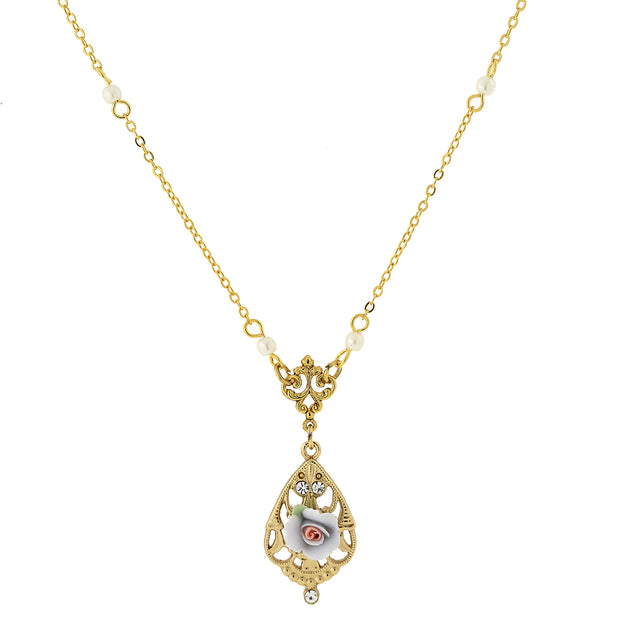 "14K Gold Dipped Porcelain Rose With Crystal Accent Necklace 17"" Light Blue"