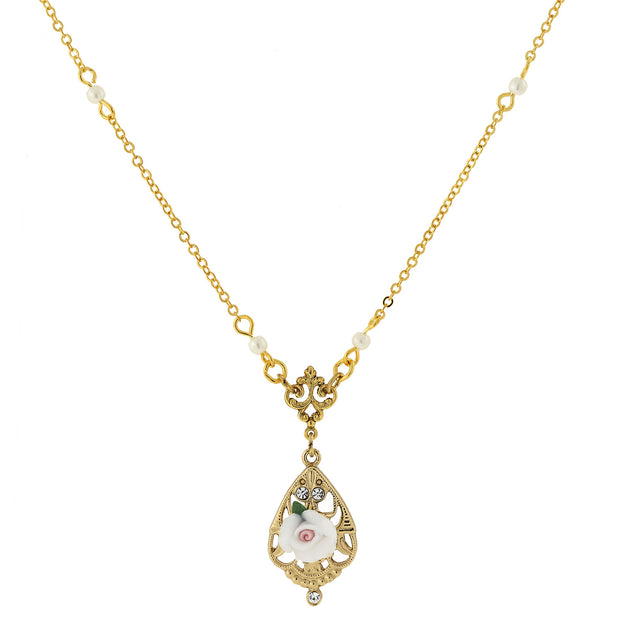 "14K Gold Dipped Porcelain Rose with Crystal Accent Necklace 17"" WHITE"