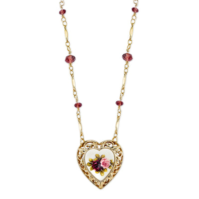 Gold-Tone Purple and Floral Manor House Heart Pendant Necklace 16 In Adj