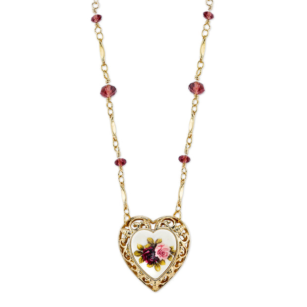 Gold Tone Purple And Floral Manor House Heart Pendant Necklace 16   19 Inch Adjustable
