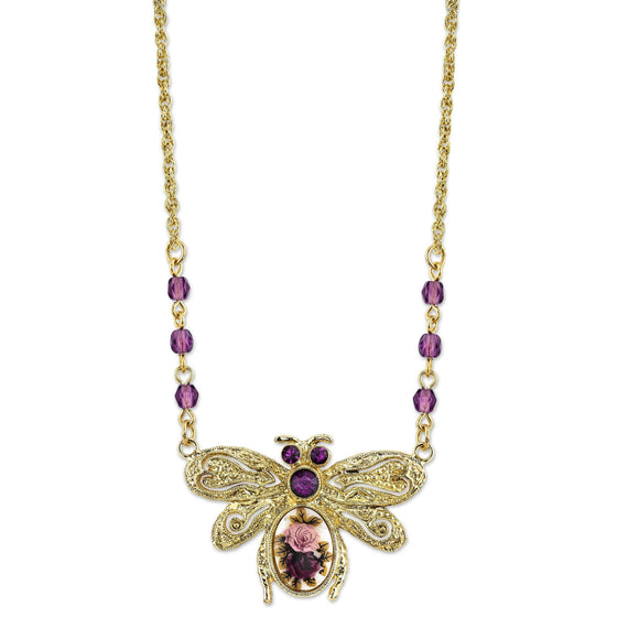 Gold-Tone Purple and Floral Manor House Bee Pendant Necklace 16  Adj.