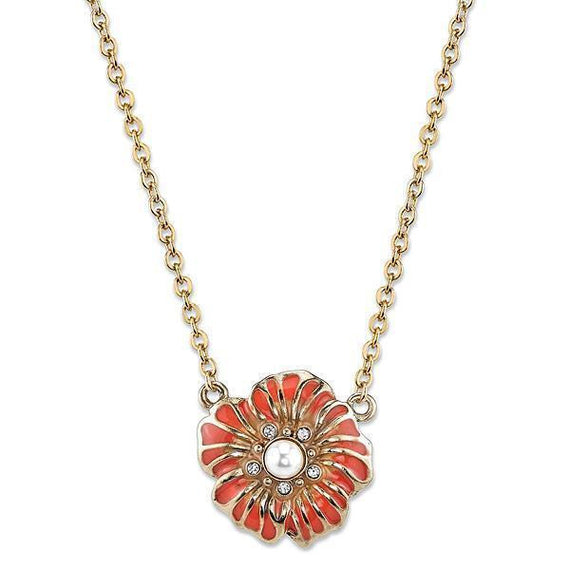 Gold-Tone Coral Orange and Crystal Accent Flower Pendant Necklace 16 Adj.