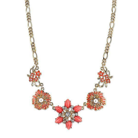 Fashion Jewelry - 2028 Gold-Tone Coral Color Crystal Floral Collar Necklace