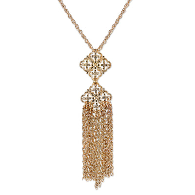Gold-Tone Tassel Fringe 18  Necklace