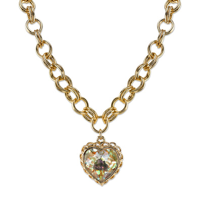 Gold-Tone With Swarovski Crystal Aurore Boreale Heart Pendant Necklace 16 - 19 Inch Adjustable
