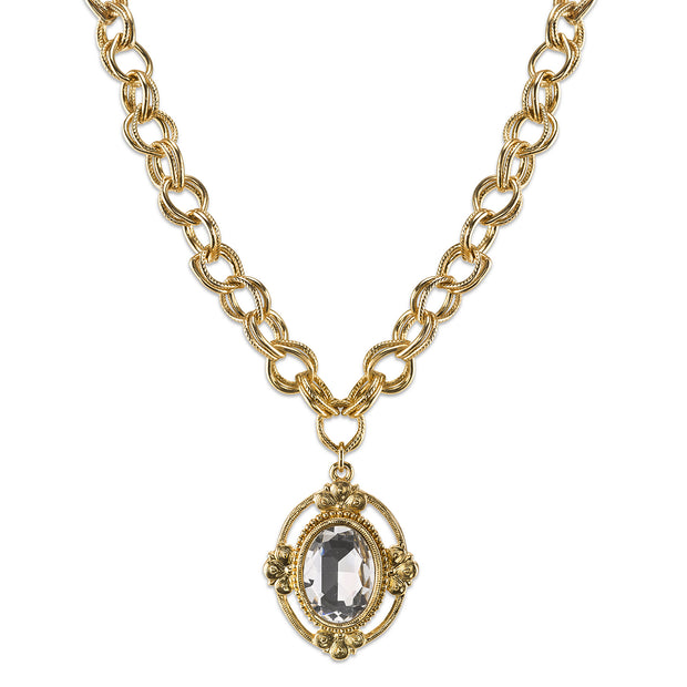 Gold-Tone Crystal Faceted Oval Pendant Necklace 16 - 19 Inch Adjustable