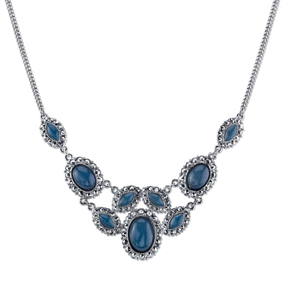 Silver-Tone Blue Bib Necklace 16 In Adj