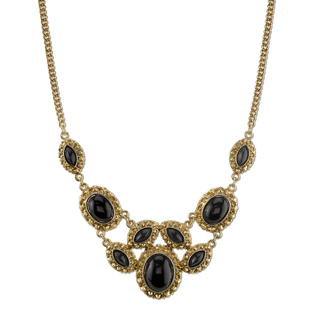 Gold-Tone Black Bib Necklace 16 In Adj