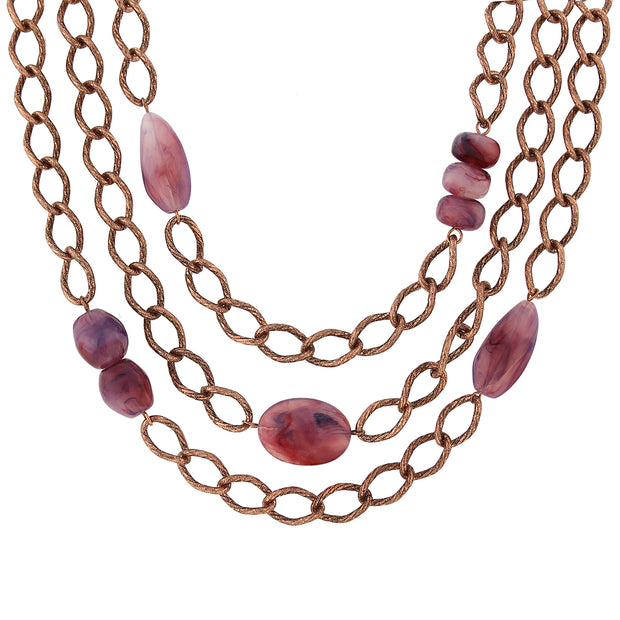 Antique Copper-Tone Curb Link Layer Necklace with Amethyst Purple Stones 18