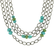 Antique Silver-Tone Curb Link Layer Necklace With Turquoise Color Stones 18