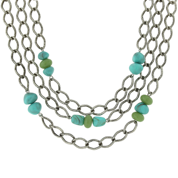 Fashion Jewelry - 2028 Antiqued Silver-Tone Curb Link Turquoise Colored Stone Layered Necklace