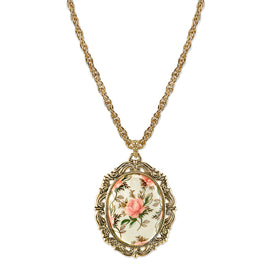 Fashion Jewelry - Gold-Tone Ivory Floral Decal Pendant Necklace