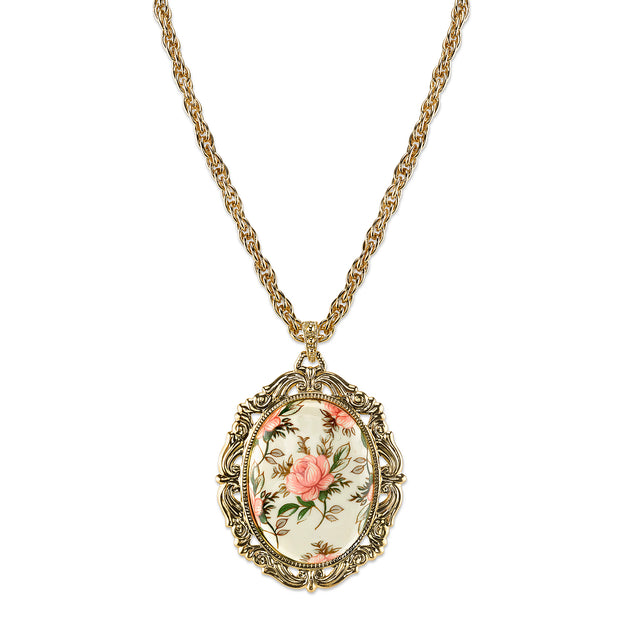 1928 Jewelry Gold Tone Ivory Color Floral Decal Pendant Necklace 24 In