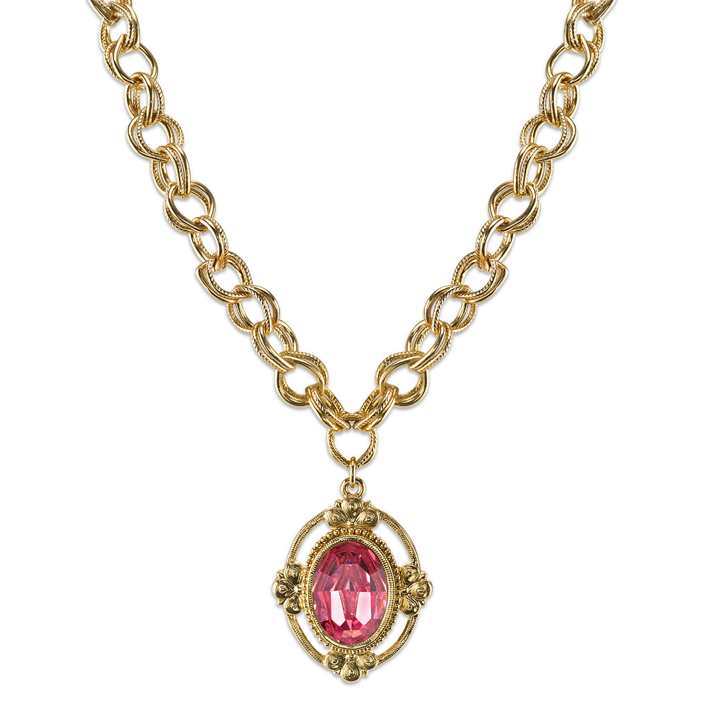 Gold-Tone Rose Pink Swarovski Crystal Oval Pendant Necklace