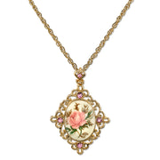 Gold Tone Ivory Color Floral Decal  Crystal Accent Pendant Necklace 16 - 19 Inch Adjustable