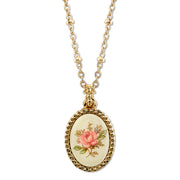 Gold Tone Ivory Color With Floral Decal Oval Pendant Necklace 16 - 19 Inch Adjustable