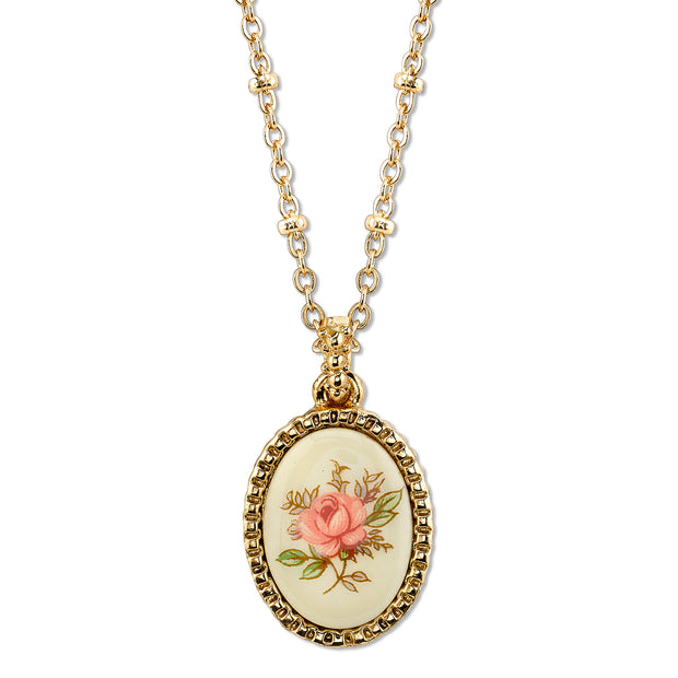 Gold Tone Ivory Color With Floral Decal Oval Pendant Necklace 16   19 Inch Adjustable