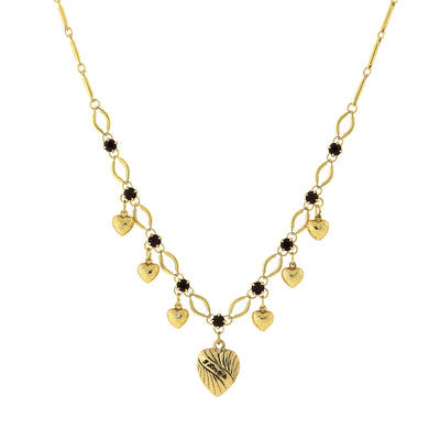 Gold-Tone Heart Drops With Red Crystal Accent Necklace 15.5 In Adj