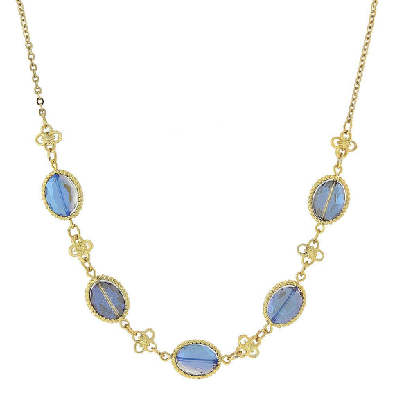 Gold-Tone Blue Collar Necklace 16 Adj.