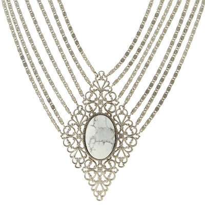Silver Tone Gemstone White Howlite Filigree Statement 16.5 A Necklace