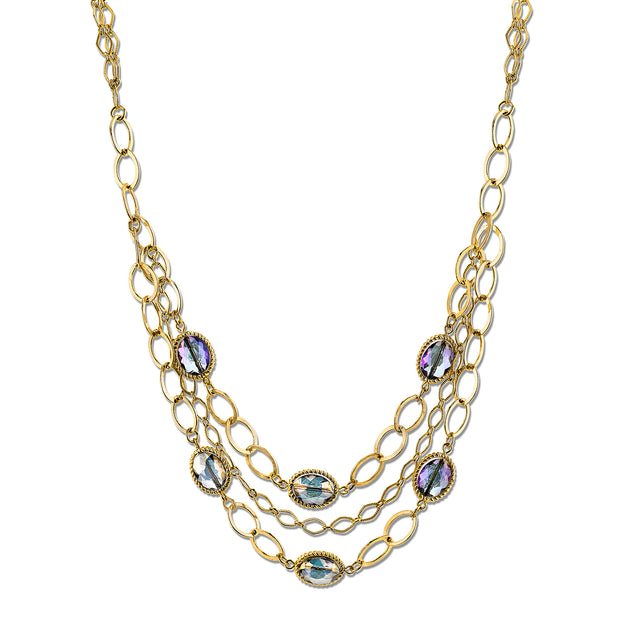 Gold Tone Blue Multi Strand Chain Necklace