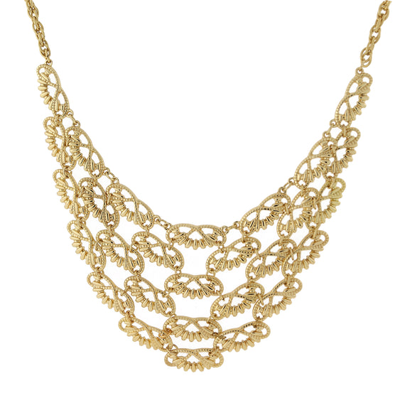 Gold Tone Scalloped Bib Necklace