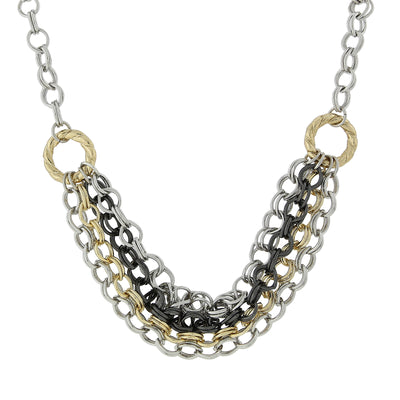 Mixed Metal Chain Necklace 18 In