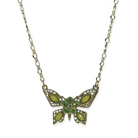 Gold-Tone Green Butterfly Pendant Necklace 16 In Adj