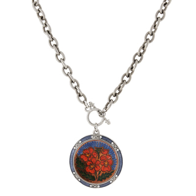 Silver-Tone Blue And Orange Floral Enamel Medallion Toggle Necklace 20 In