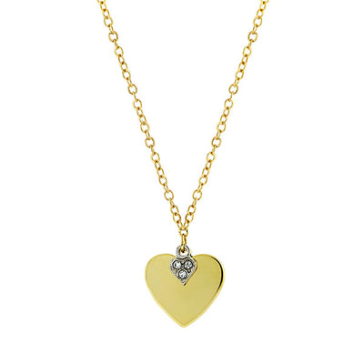 14K Gold Dipped And Clear Crystal Heart Pendant Necklace 16 Inch