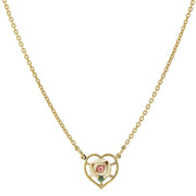 14K Gold Dipped Porcelain Rose Heart Necklace 16 Inch